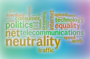 Net neutrality word cloud with abstract background