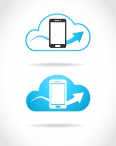Cloud computing concept with smartphone and upload sign