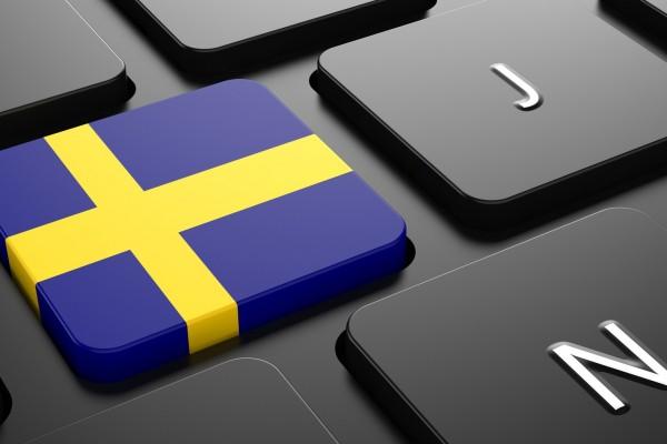 Flag of Sweden - Button on Black Computer Keyboard.