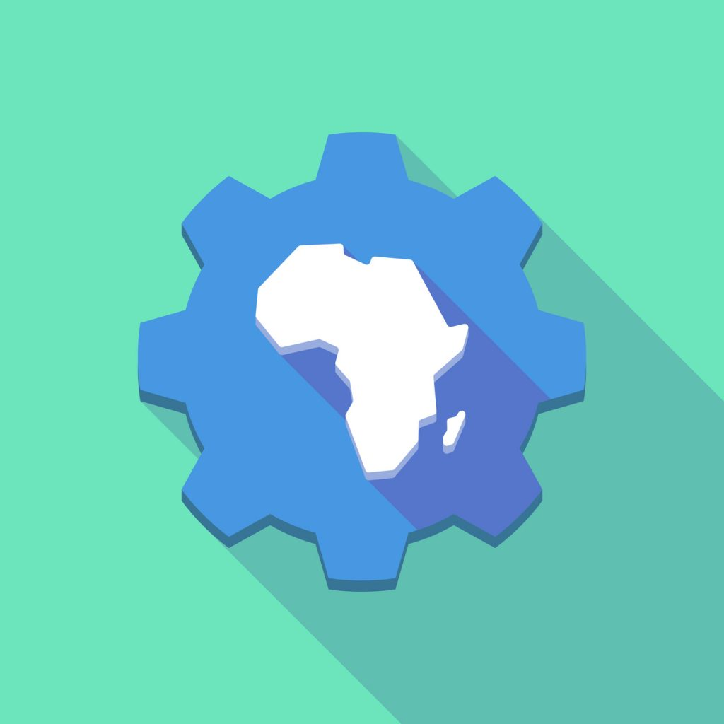 Illustration of a long shadow gear icon with a map of the african continent